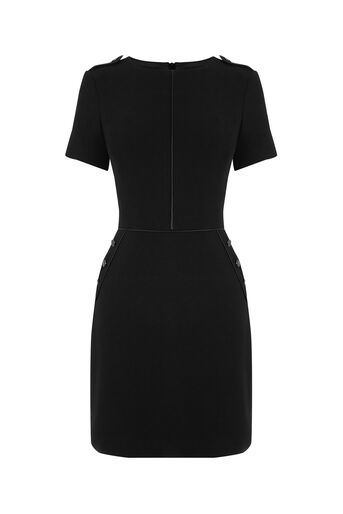 Oasis, TEXTURED BUTTON SHIFT DRESS Black 0