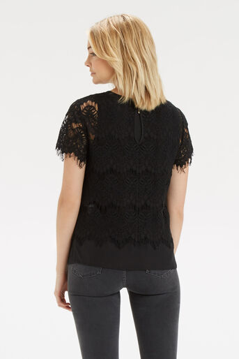 Oasis, Lace Layer T-Shirt Black 3