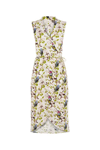 Oasis, TOPAZ BIRD WRAP MIDI DRESS Multi Natural 0