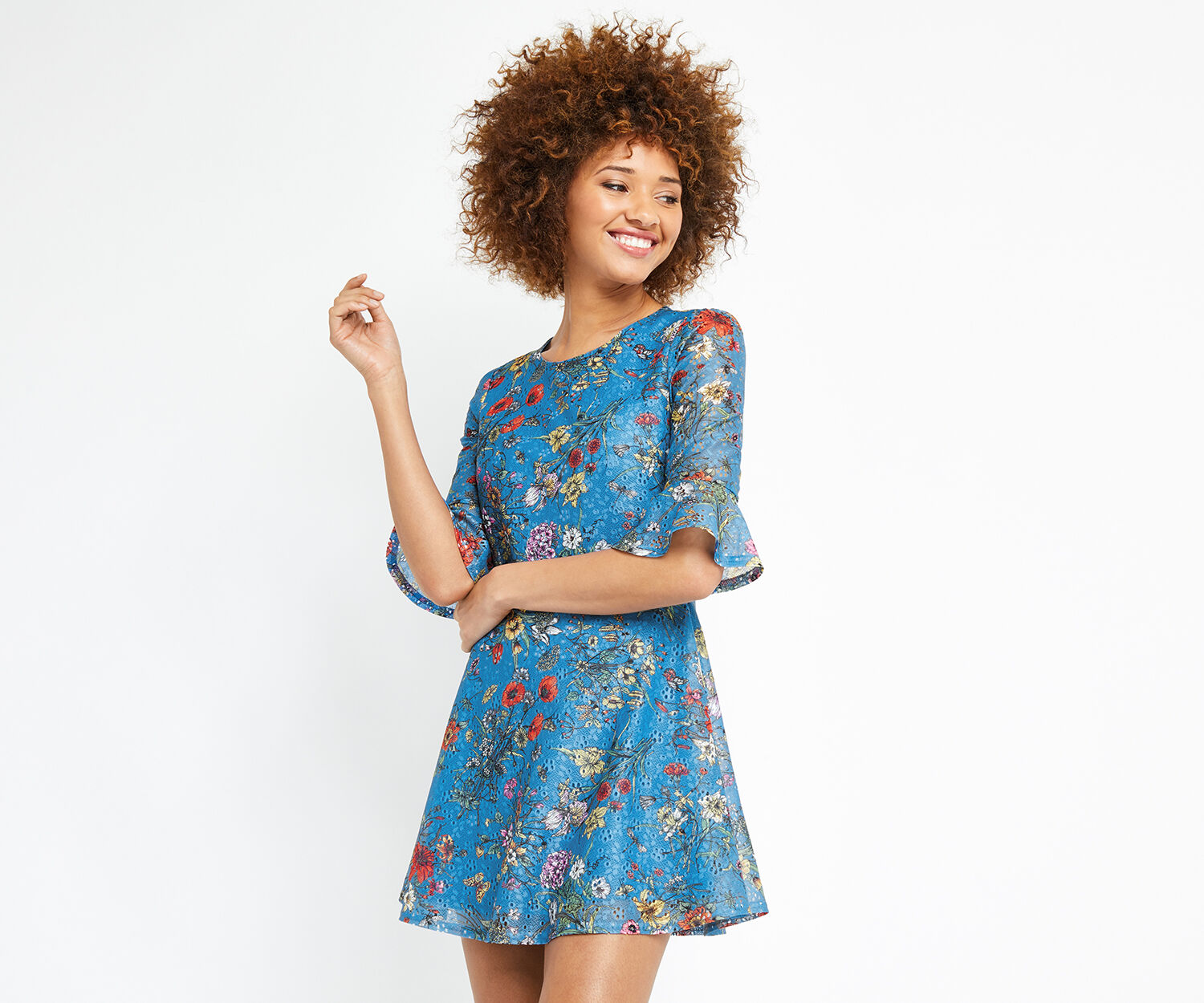 Oasis, SHORT AZELIA PRINTED DRESS Multi Blue 1