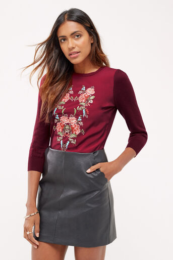 Oasis, Embroidered puritan knit Burgundy 1