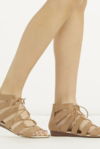 Oasis, Winona Lace Up Ghillie Wedge S Stone 1