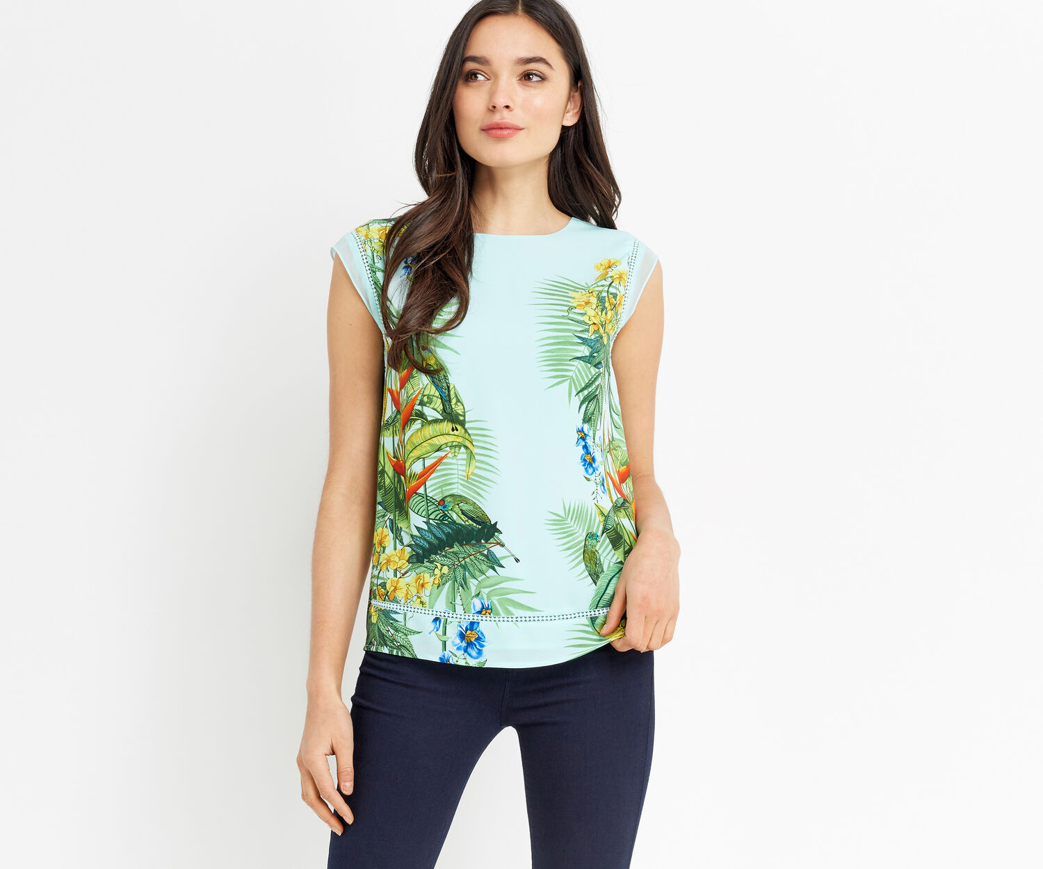 Oasis, TROPICAL PLACEMENT TEE Multi Blue 1