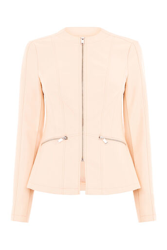 Oasis, FAUX LEATHER COLLARLESS JACKET Natural 0