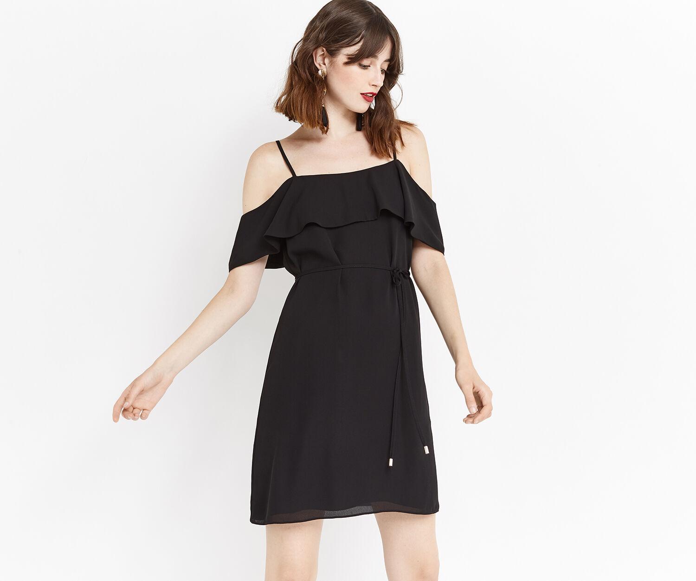 Oasis, STRAPPY BARDOT DRESS Black 1