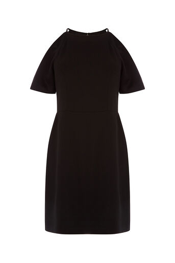 Oasis, COLD SHOULDER SHIFT DRESS Black 0