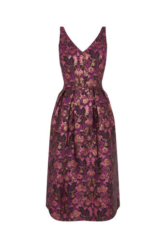 Oasis, WARNER JACQUARD MIDI DRESS Multi Pink 0