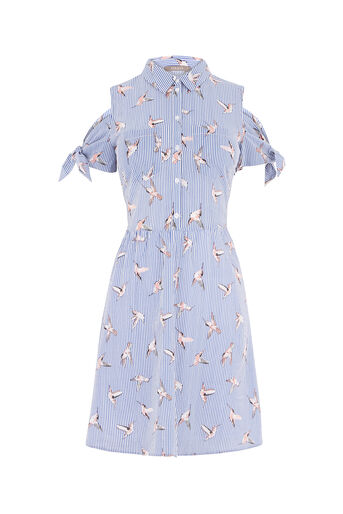 Oasis, STRIPE BIRD SHIRT DRESS Multi Blue 0