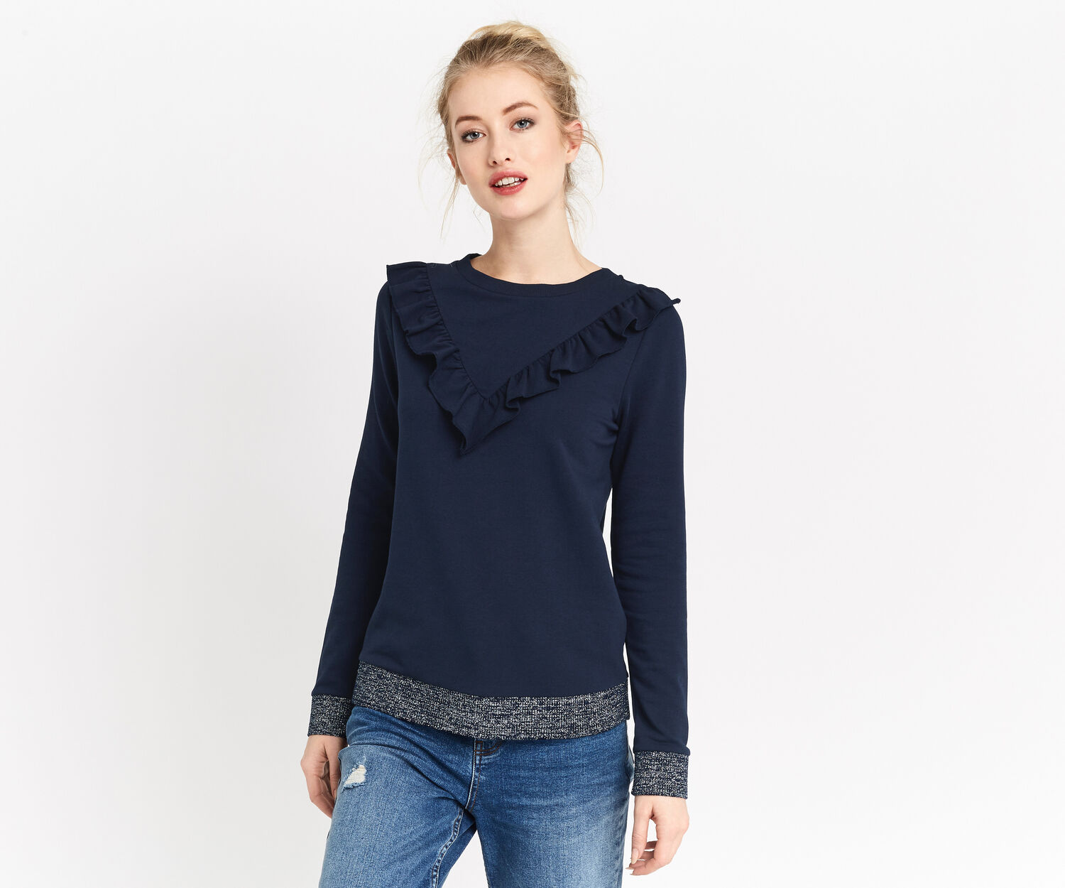 Oasis, RUFFLE SWEATER Navy 1