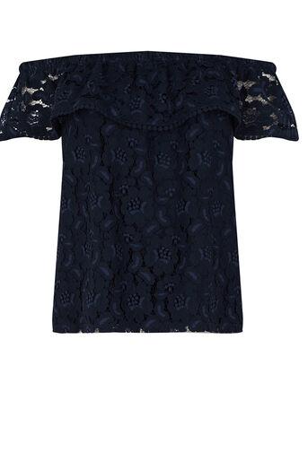Oasis, Lace Bardot Top Navy 0