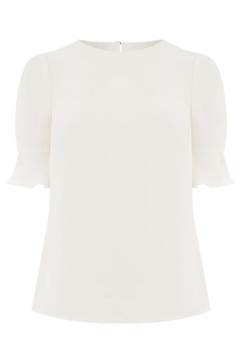 Oasis, FLUTED SLEEVE TEE Off White 0