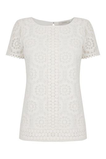 Oasis, Isla Lace T-Shirt Off White 0