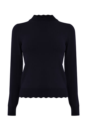 Oasis, Mini scallop turtle neck Navy 0