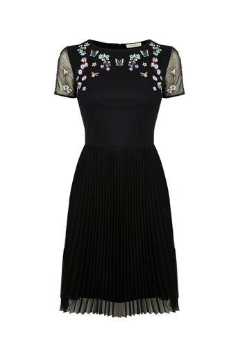 Oasis, V&A MESH SKATER DRESS Black 0