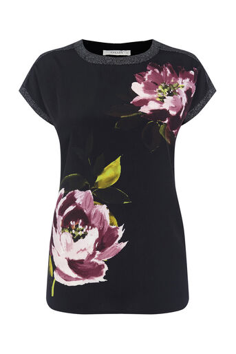 Oasis, PAINTED FLORAL WOVEN FRONT TEE Black 0