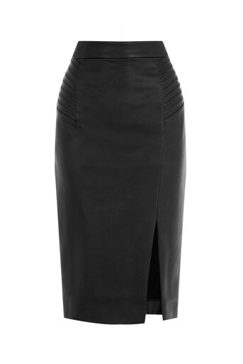 Oasis, PINTUCK FAUX LEATHER SKIRT Black 0
