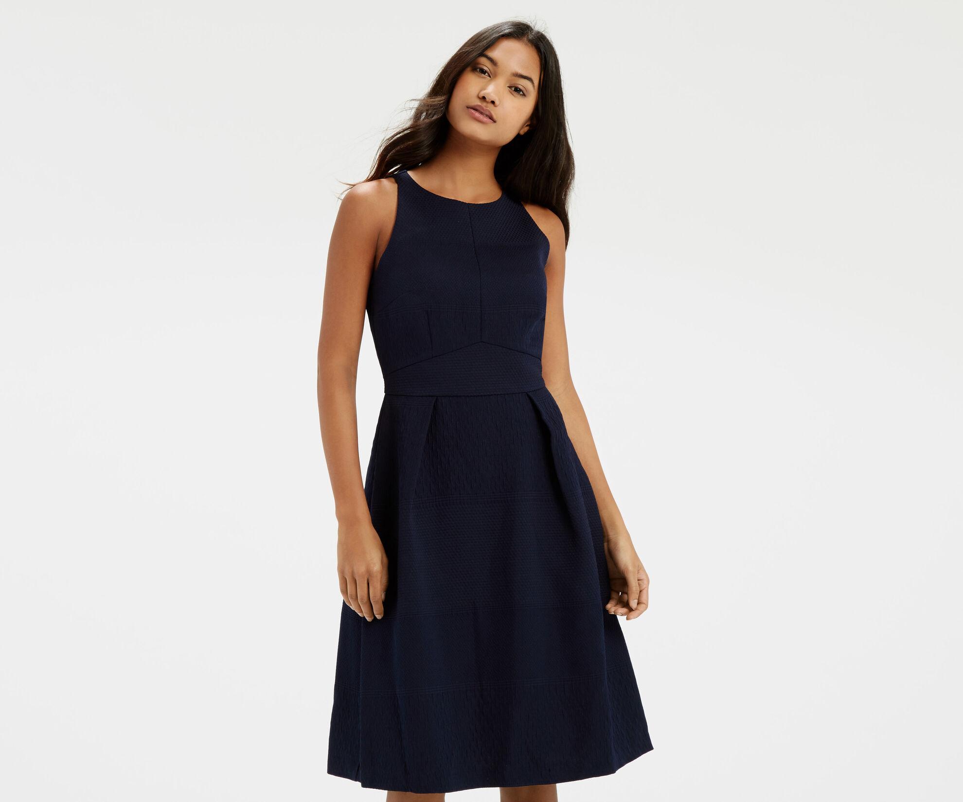 Oasis, Jacquard Midi Dress Navy 1
