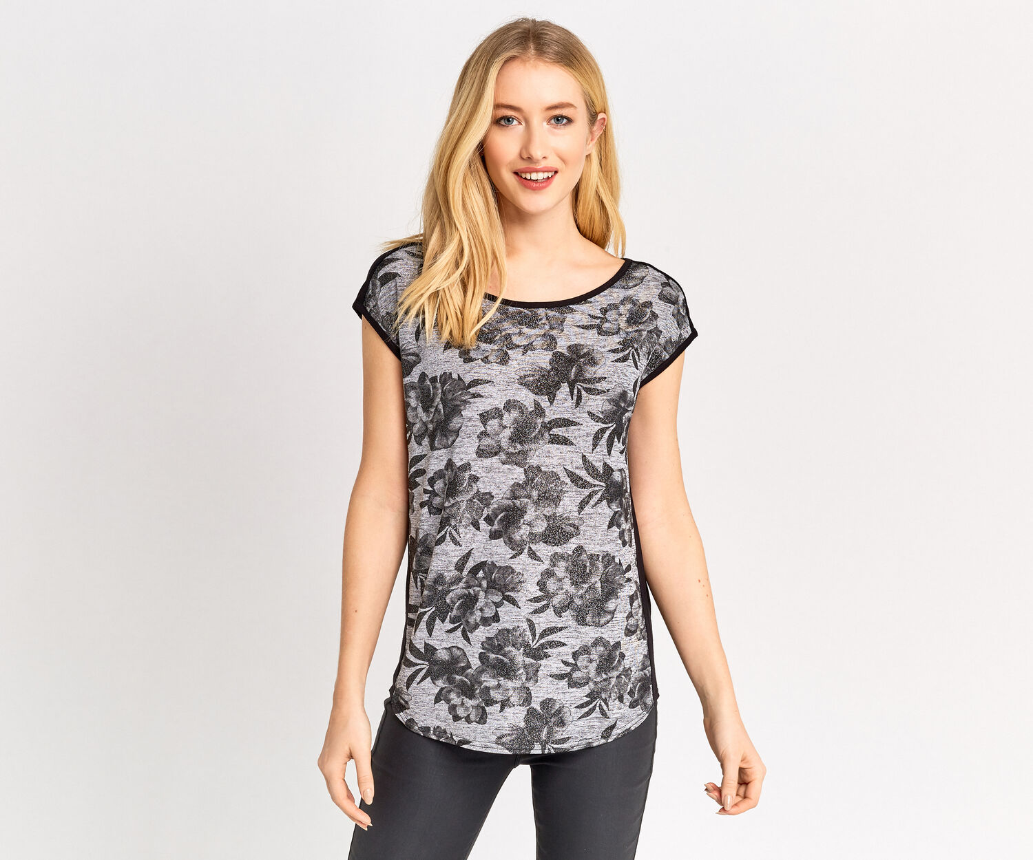 Oasis, SHIMMER FLORAL TEE Multi 1