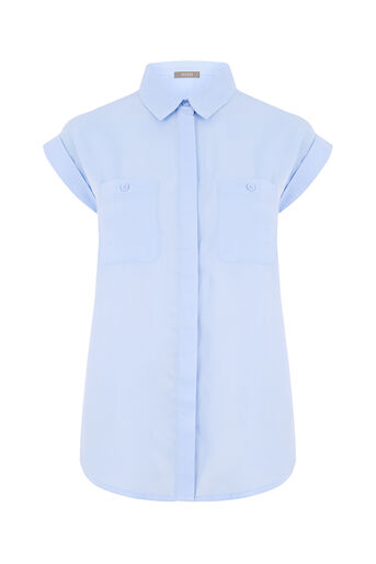 Oasis, SHORT SLEEVE COTTON SHIRT Light Blue 0