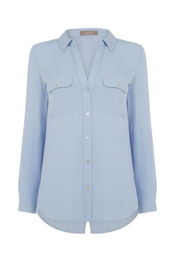 Oasis, Weekend Viscose Shirt Mid Blue 0