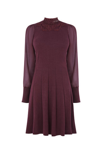 Oasis, LACE AND SHEER KNIT DRESS Burgundy 0
