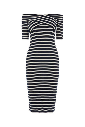 Oasis, BARDOT WRAP STRIPE DRESS Multi 0