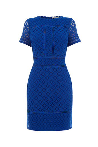 Oasis, ISLA LACE SHIFT DRESS Cobalt Blue 0