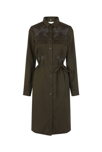 Oasis, The Falls Shirt Dress Khaki 0