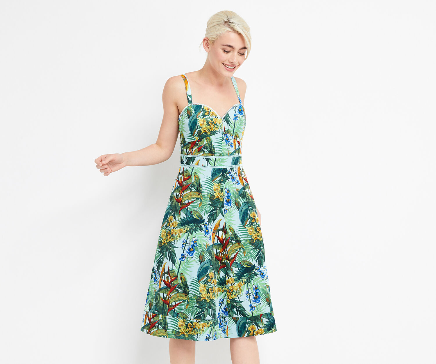 Oasis, TROPICAL CUBA MIDI DRESS Multi 1