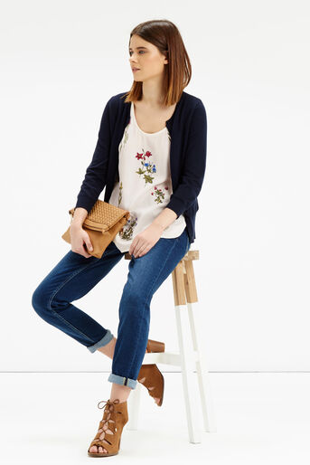 Oasis, Floral Embroidered Vest Off White 2