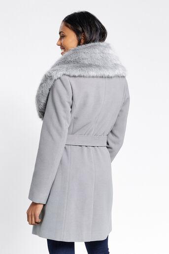 Oasis, Manteau avec col en fausse fourrure Gris moyen 3