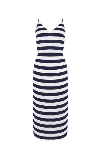 Oasis, STRIPE TIE BACK MIDI DRESS Multi 0