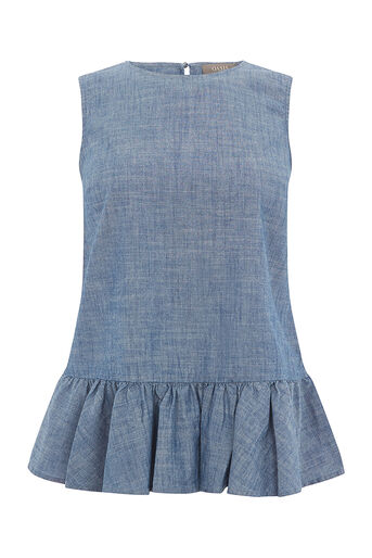 Oasis, SLEEVELESS PEPLUM TOP Denim 0
