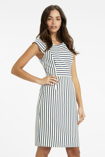 Oasis, Stripe Pencil Dress Multi Blue 1