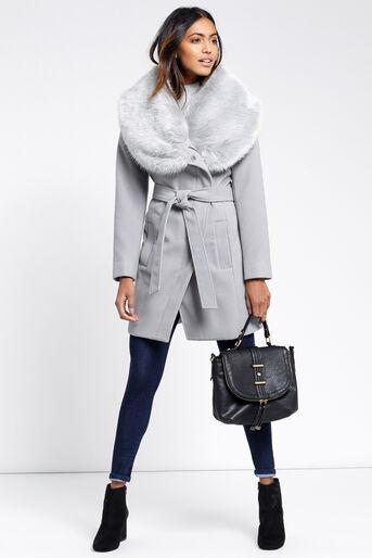 Oasis, Manteau avec col en fausse fourrure Gris moyen 2