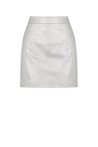 Oasis, FAUX LEATHER METALLIC SKIRT Silver 0