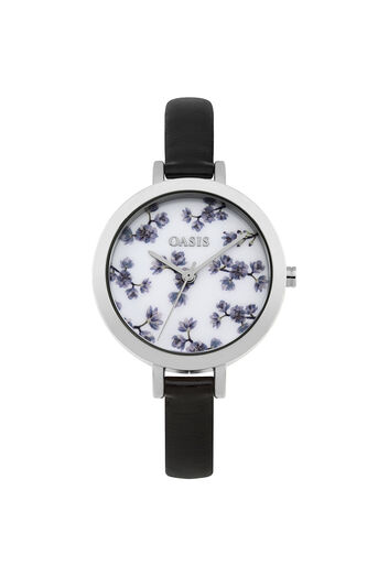 Oasis, Floral Printed Watch Black 0