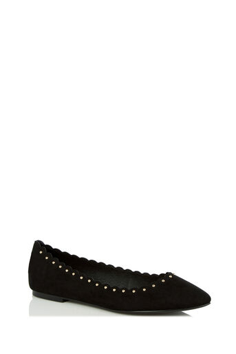 Oasis, KATE SCALLOPED FLATS Black 0