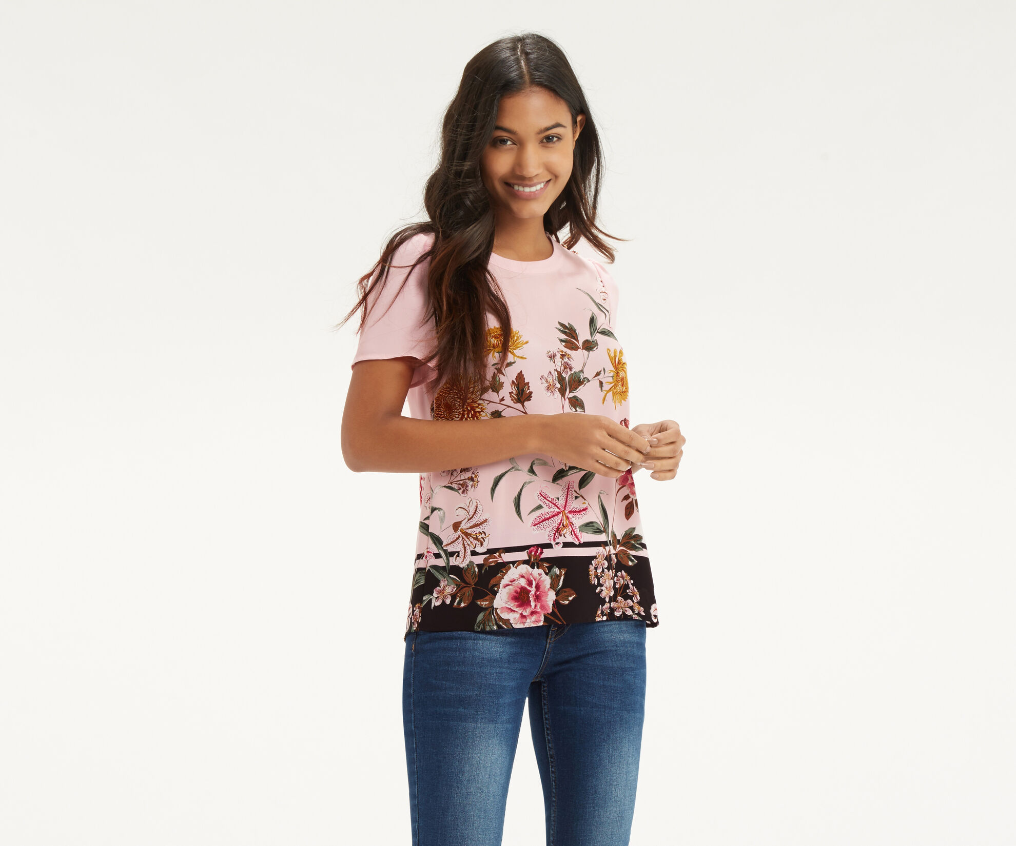 Oasis, Opium Grosgrain T-Shirt Multi Pink 1