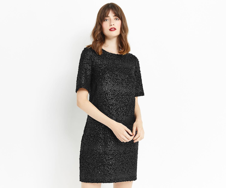 Oasis, ANIMAL POPCORN SHIFT DRESS Black 1
