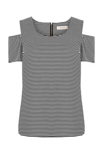 Oasis, Cold Shoulder Stripe Top Black and White 0