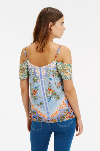 Oasis, Scarf Print Cold Shoulder Cami Multi 3