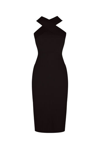 Oasis, Cross Front Rib Tube Dress Black 0