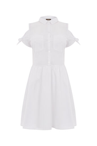 Oasis, COTTON TIE SHOULDER SHIRTDRESS White 0