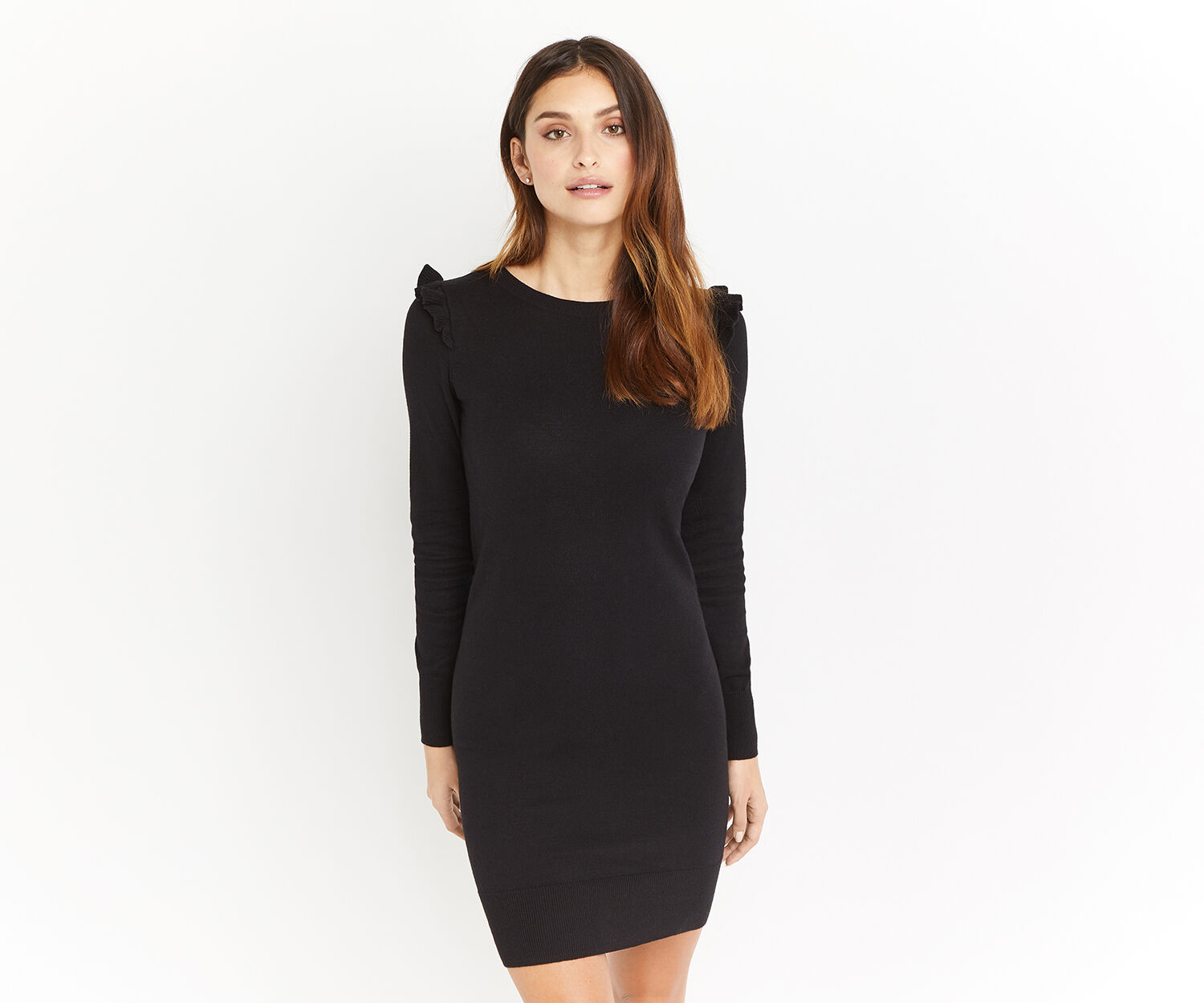 Oasis, CUTE FRILL KNIT DRESS Black 1