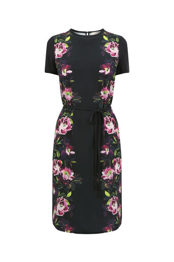 Oasis, PAINTED ROSE JERSEY DRESS Black 0