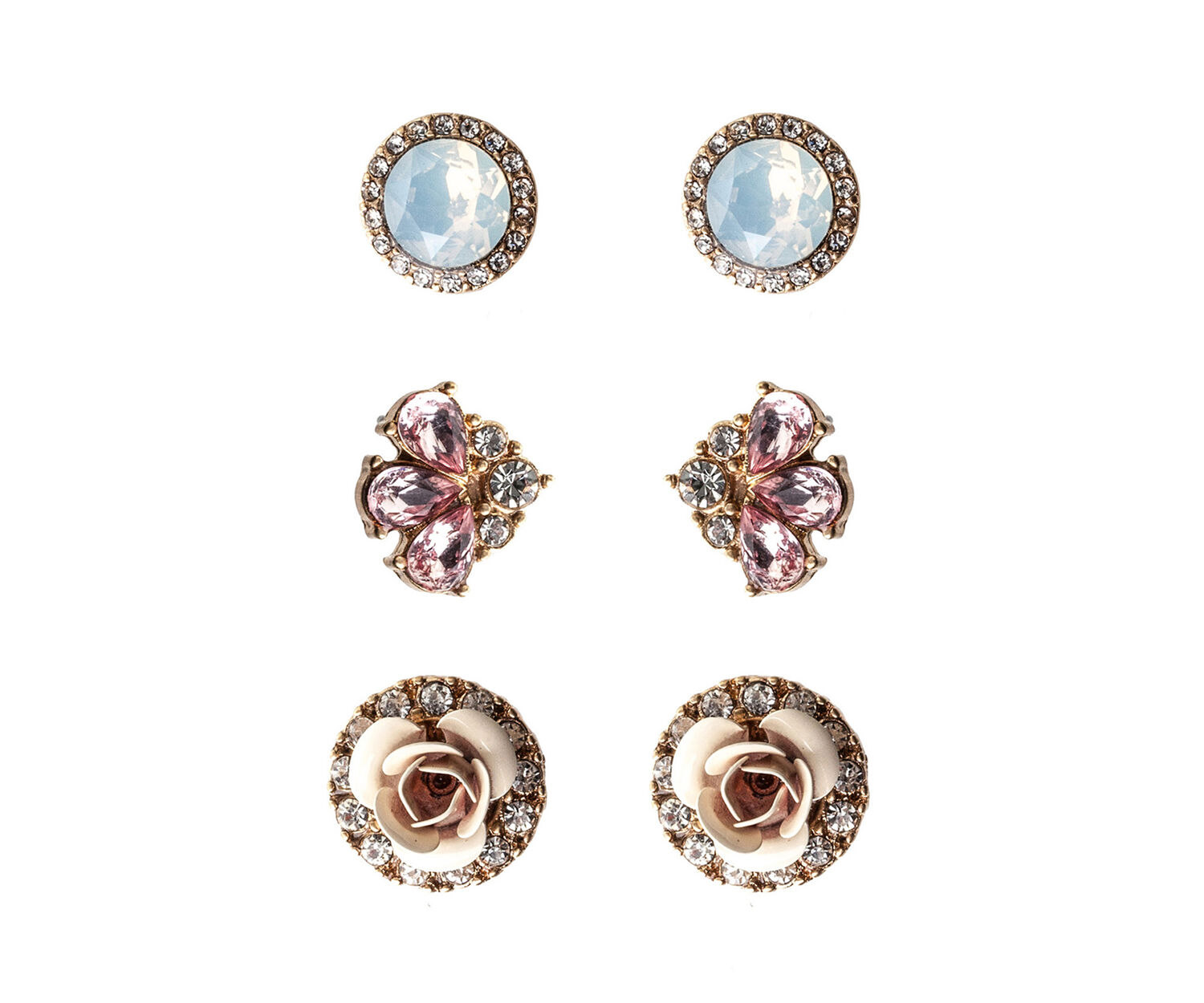 Oasis, 3 PACK ROSEBUD EARRINGS Crystal 1