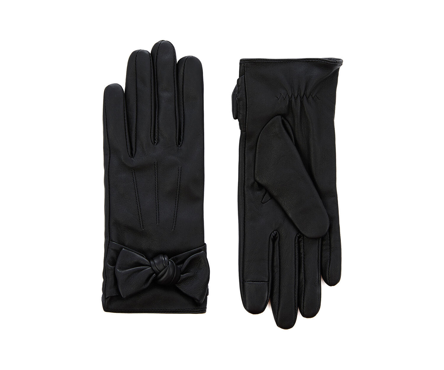 Oasis, LEATHER BOW GLOVE Black 1