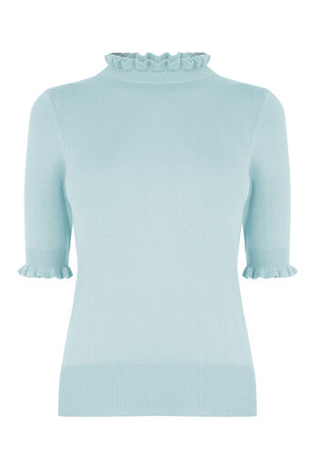 Oasis, Frill Knit Top Teal Green 0