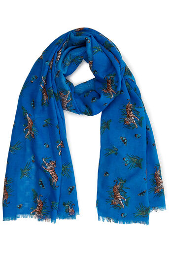 Oasis, ZSL TIGER SCARF Multi Blue 0